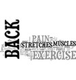 back exercise stretches for back pain text word vector image vector image