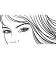 beautiful girl eyes and light long hair vector image
