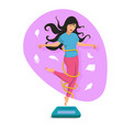 beautiful girl jump on the scales and smile vector image