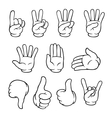 Black and white cartoon hands set vector image vector image