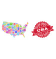 black friday composition of mosaic map of usa and vector image vector image