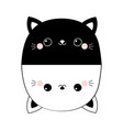 black white cat set head face line contour vector image vector image