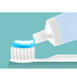 blue jelly toothpaste is pasted on tooth brush in vector image vector image