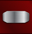 brushed metal plate on red perforated background vector image vector image