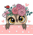 cartoon owl with flowerson a white background vector image vector image