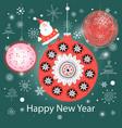 christmas colorful balls and santa claus vector image vector image