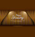 cinema theater curtains gold and lighting banner vector image vector image