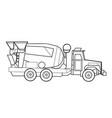 concrete mixer sketch coloring book cartoon vector image vector image