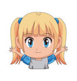 Cute cartoon anime little girl chibi character vector image