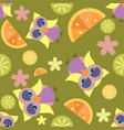 cute cartoon seamless pattern with flowers citrus vector image vector image