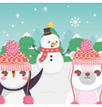 cute polar bear snowman and penguin trees merry vector image