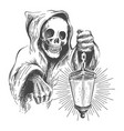 death in a hood with lantern vector image vector image