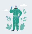 doctor in medical mask and protective suit vector image vector image