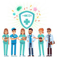 doctors set medical staff standing in uniform vector image