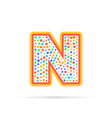 dots and letter n logo with circles and dots vector image