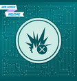 explosion icon on a green background with arrows vector image