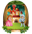 fairytale scene with prince and princess vector image vector image