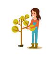 female farmer planting tree icon