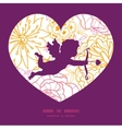 flowers outlined shooting cupid silhouette vector image vector image