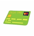 Green credit card icon cartoon style vector image