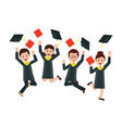 group of happy graduates throwing graduation hats vector image