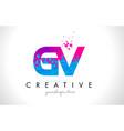 gv g v letter logo with shattered broken blue vector image