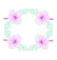hibiscus flower pink color vintage fram vector image vector image