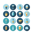 icons flat line food drinks vector image