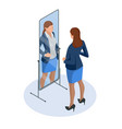 isometric business woman adjusting tie in front of vector image