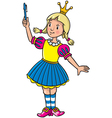 Little princess in mediaval dress with a pen vector image