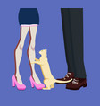 man and woman legs and a cat between them vector image vector image