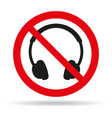 no headphones signs on white background vector image vector image