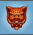 orange cute head cat animal vector image