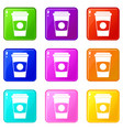 paper coffee cup icons 9 set vector image vector image