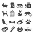 pet shop bold black silhouette icons set isolated vector image vector image