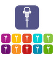 pneumatic hammer icons set flat vector image vector image