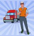 pop art trucker with truck vector image vector image