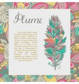 postcard with plume and text sample vector image vector image