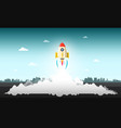 rocket launch with abstract urban landscape on vector image vector image
