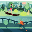 running people morning run man and woman are vector image