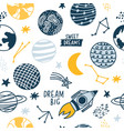 seamless pattern space elements vector image vector image