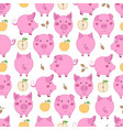 seamless pattern with cartoon pink pigs yellow vector image vector image
