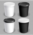 set mock up paper cups with plastic cover vector image