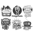set radio and music labels in vintage vector image vector image