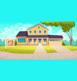 suburban cottage with garage with sign sold vector image