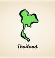 thailand - outline map vector image