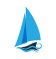 the ship is on the waves sailboat logo for a vector image vector image