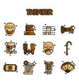 theater flat icons set vector image vector image