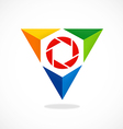 triangle video lens abstract logo vector image