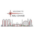 welcome to abu dhabi poster in linear style vector image vector image